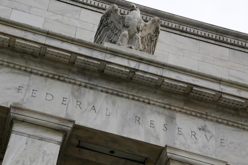 An eagle tops the U.S. Federal Reserve building's facade in Washington
