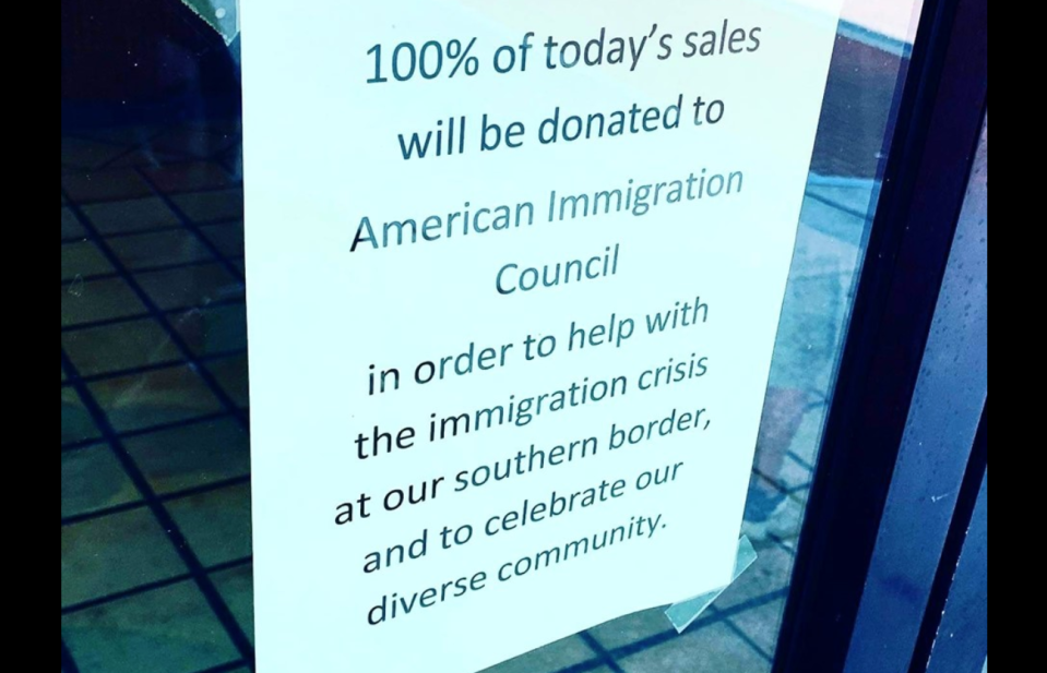 On the same day President Donald Trump was hosting a rally in Greenville, North Carolina, a restaurant owner promised that 100 percent of the proceeds would go to an immigration nonprofit. (Photo: Facebook)