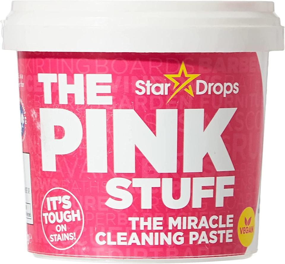 """<h2>Stardrops The Pink Stuff The Miracle Cleaning Paste</h2><br><strong>Best Used For:</strong> Leaving surfaces squeaky clean<br><br><strong>The Hype</strong>: 4.5 out of 5 stars and 91,235 ratings <br><br><strong>Practical Peeps say:</strong> """"Oh my gosh—this stuff is a life-changer! Used it to get my fiberglass shower totally clean. Nothing else would get it done and this stuff brought my shower back to near-new in one use. We've since cleaned a weird chalky film off our garage door, removed wall markings, and cleaned my storm door. We'll never be without a jar (or three) of this stuff.""""<br><br>Shop <a href=""""https://amzn.to/3tLdaV7"""" rel=""""nofollow noopener"""" target=""""_blank"""" data-ylk=""""slk:Amazon"""" class=""""link rapid-noclick-resp""""><strong><em>Amazon</em></strong></a><br><br><br><br><strong>Stardrops</strong> The Pink Stuff, $, available at <a href=""""https://amzn.to/3lwJoRx"""" rel=""""nofollow noopener"""" target=""""_blank"""" data-ylk=""""slk:Amazon"""" class=""""link rapid-noclick-resp"""">Amazon</a>"""