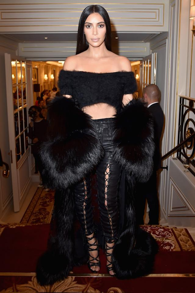 <p>Kim has been wearing real fur for years and has previously defended herself after being flour-bombed by a PETA activist. Now though, Kim and husband Kanye West only get their fur from roadkill rather than a potentially unethical designer. <i>[Photo: Getty]</i> </p>
