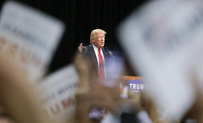 Donald Trump at a rally last Friday in San Diego. (Photo: Chris Carlson/AP)