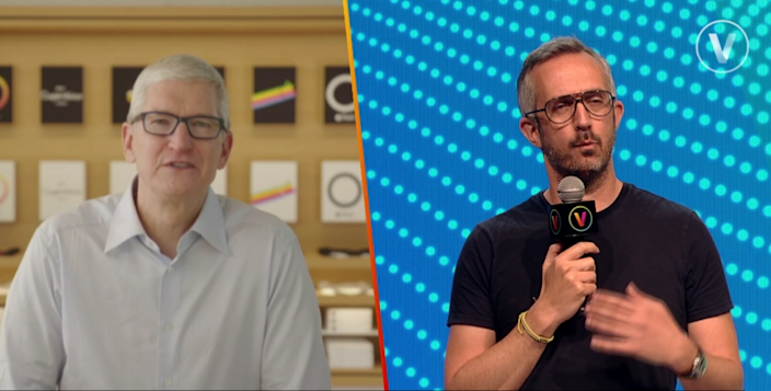 'We are going to be standing up for the user,' said Apple's Tim Cook (left). Photo: Viva Technology