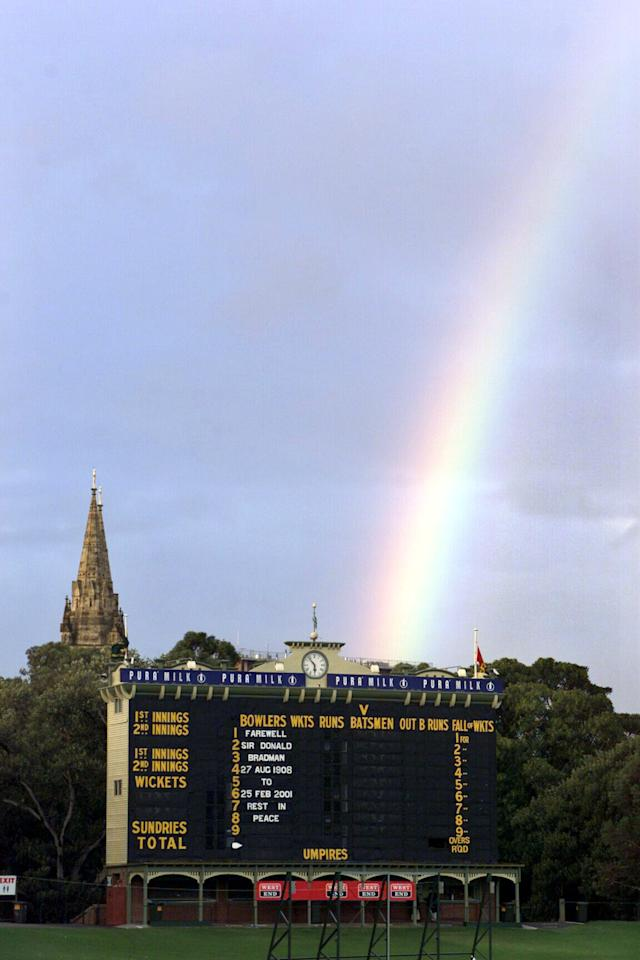 25 Mar 2001:  General view of the score board at the Adelaide oval with St Peters spires and a rainbow in the background before the Don Bradman Memorial service held at St Peters Cathedral, Adelaide, Australia. DIGITAL IMAGE. Mandatory Credit: Matt Turner/ALLSPORT