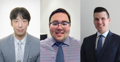 From left to right: QAFP Exam Award of Merit recipients Michael Liu (first place), Scott Braun (second place) and Nathan Phillips (third place). (CNW Group/FP Canada)