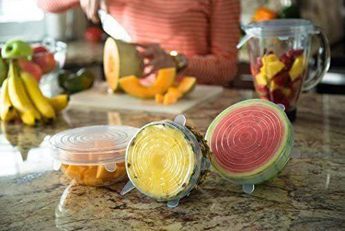 """They willeasily stretch over oddly shaped jars, bowls, pots and more, creating an airtight seal that'll lock in freshness.These are dishwasher-, microwave- and freezer-safe.<br /><br /><strong>Get a set of seven from Amazon for <a href=""""https://www.amazon.com/dp/B013QFYFCE?&linkCode=ll1&tag=huffpost-bfsyndication-20&linkId=b79235def2df4b963d840a1bdb225824&language=en_US&ref_=as_li_ss_tl"""" target=""""_blank"""" rel=""""noopener noreferrer"""">$18.97</a>.</strong>"""