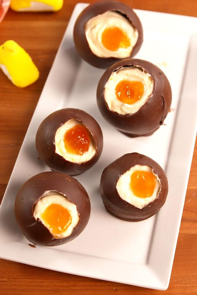 "<p>These are the kind of Easter eggs we wanna find!</p><p>Get the recipe from <a href=""/cooking/recipe-ideas/recipes/a52187/cheesecake-eggs-recipe/"" target=""_blank"">Delish</a>.</p>"
