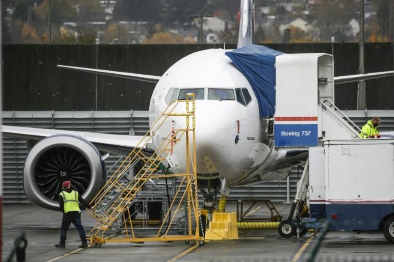 A Boeing 737 MAX airliner at Renton Airport adjacent to the Boeing Renton Factory in Renton, Washington