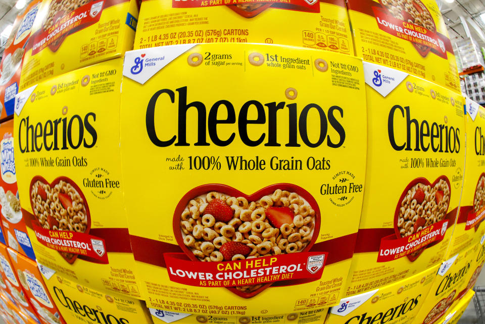 This is a display of General Mills Cheerios cereal at a Costco Warehouse in Homestead, Pa, on Thursday, May 14, 2020. (AP Photo/Gene J. Puskar)
