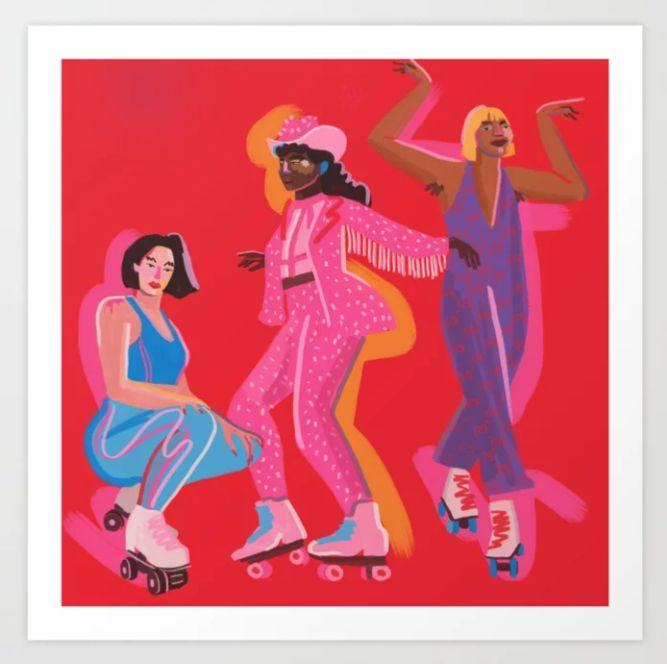 """<a href=""""https://fave.co/33p15IA"""" target=""""_blank"""" rel=""""nofollow noopener noreferrer"""">Niege Borges</a>is a Brazilian illustrator based in Brooklyn. You'll find colorful illustrations featuring women that are a celebration of culture, identity and everyday life. Find this<a href=""""https://fave.co/3lxRpCs"""" target=""""_blank"""" rel=""""noopener noreferrer"""">Rollers Skaters Art Print starting at $33</a> and<a href=""""https://fave.co/33p15IA"""" target=""""_blank"""" rel=""""nofollow noopener noreferrer"""">Borges' artwork</a>at Society6."""