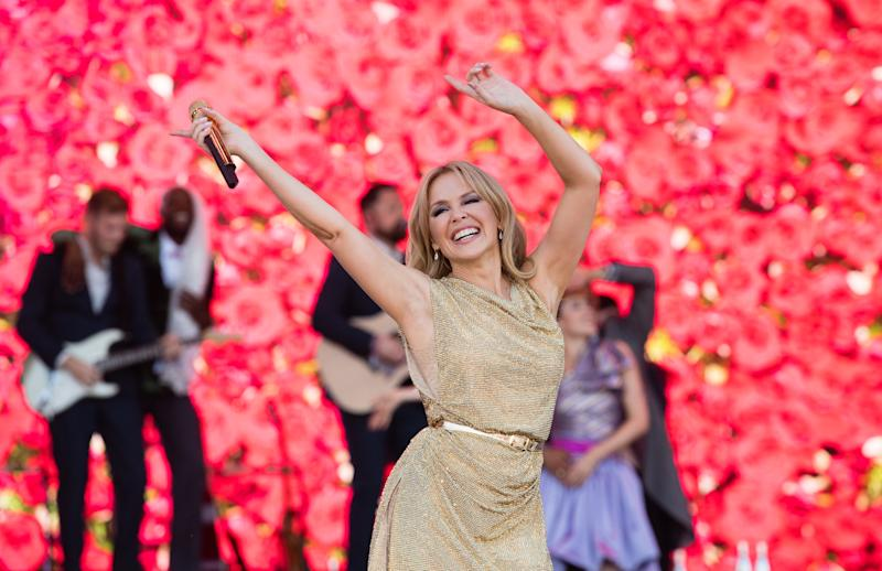 GLASTONBURY, ENGLAND - JUNE 30: Kylie Minogue performs on the Pyramid Stage on day five of Glastonbury Festival at Worthy Farm, Pilton on June 30, 2019 in Glastonbury, England. (Photo by Samir Hussein/WireImage)