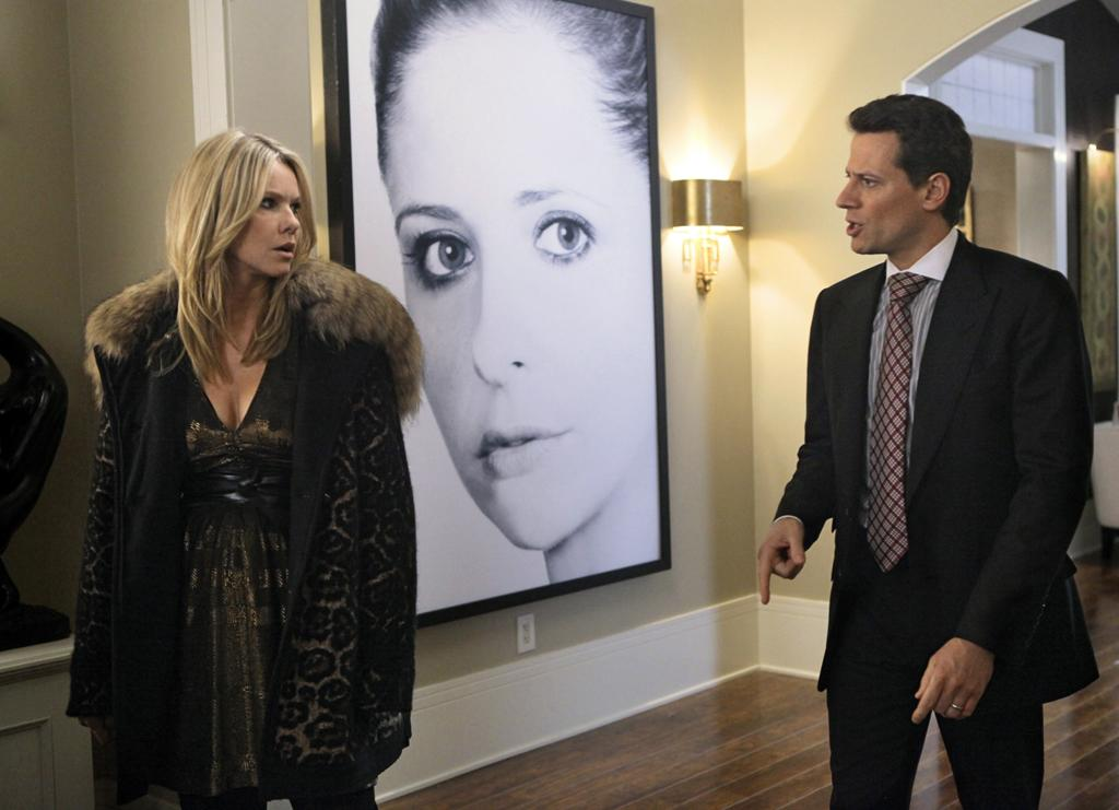 "<p><b>Siobhan's Giant Portrait (""Ringer"")</b><br><br>Lots of things were ridiculous on this show, but in terms of the inanimate objects, our favorite was the enormous black-and-white picture of Shiv's face that hung in the foyer of her Park Ave. apartment. Its most memorable moment was when Juliet vandalized it -- but to be fair, the giant red word ""whore"" did give the art some extra flair. </p>"