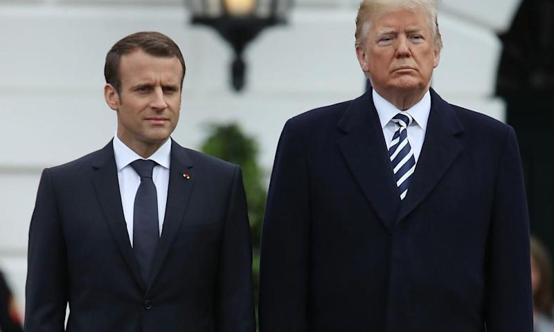 Presidents Trump and Macron at the White House last month