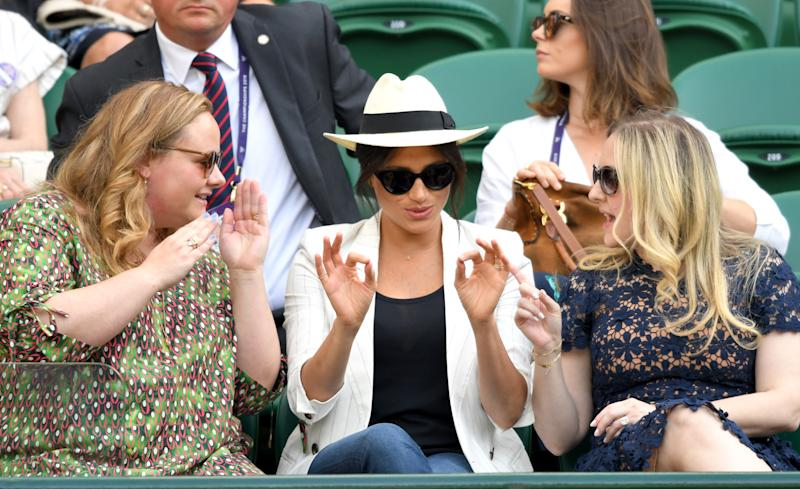 LONDON, ENGLAND - JULY 04: Meghan, Duchess of Sussex (C) attends day 4 of the Wimbledon Tennis Championships at the All England Lawn Tennis and Croquet Club on July 04, 2019 in London, England. (Photo by Karwai Tang/Getty Images)