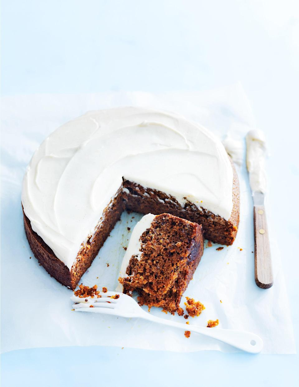 """You don't need a bowl or even beaters for this treat. Just mix all the ingredients in your food processor, then bake. Lightened with a little bit of ricotta cheese, the cream cheese frosting here is one for the ages. <a href=""""https://www.epicurious.com/recipes/food/views/food-processor-carrot-cake-56390081?mbid=synd_yahoo_rss"""" rel=""""nofollow noopener"""" target=""""_blank"""" data-ylk=""""slk:See recipe."""" class=""""link rapid-noclick-resp"""">See recipe.</a>"""