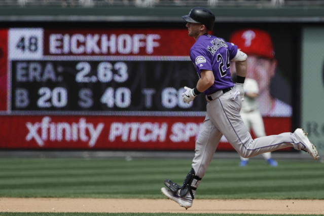 Colorado Rockies' Ryan McMahon rounds the bases after hitting a home run off of Philadelphia Phillies starting pitcher Jerad Eickhoff during the fourth inning of a baseball game Sunday, May 19, 2019, in Philadelphia. (AP Photo/Matt Rourke)