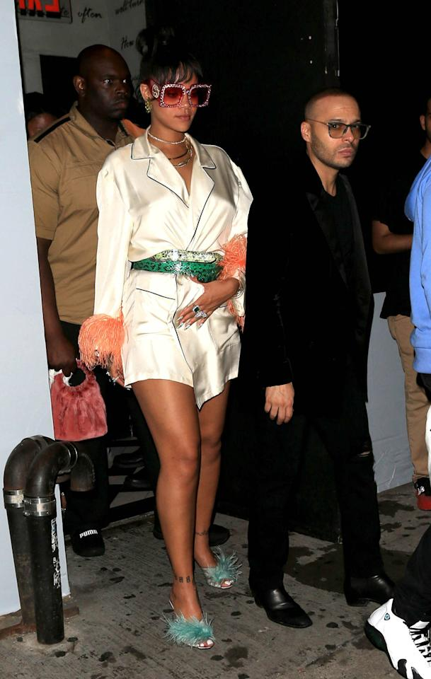 <p>Rihanna steps out on the way to her party at 1 Oak.</p>