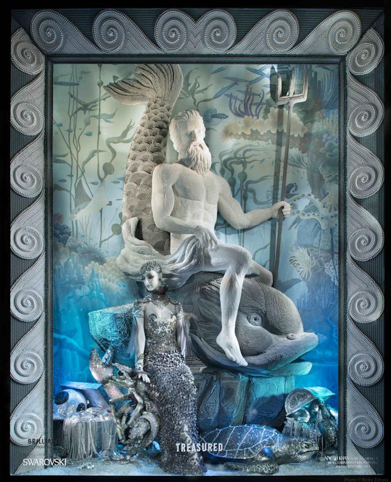 <p>Under the sea! A treasure chest window shows a statue of Neptune encrusted with pearls and a mermaid-like figure.<i>Photo: Ricky Zehavi/ Courtesy</i></p>