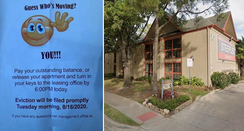 Left is the eviction notice. Right is the apartment complex in Houston.