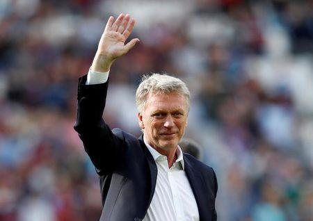 West Ham United manager David Moyes during a lap of honour after the match REUTERS/Eddie Keogh