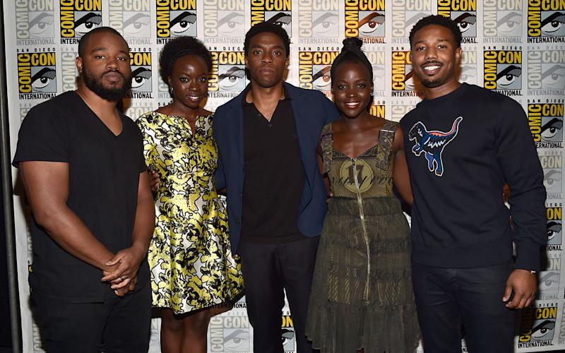 "Director Ryan Coogler, actors Danai Gurira, Chadwick Boseman, Lupita Nyong'o and Michael B. Jordan from Marvel Studios' 'Black Panther"" attend the San Diego Comic-Con International 2016 (Credit: Alberto E. Rodriguez/Getty Images for Disney)"