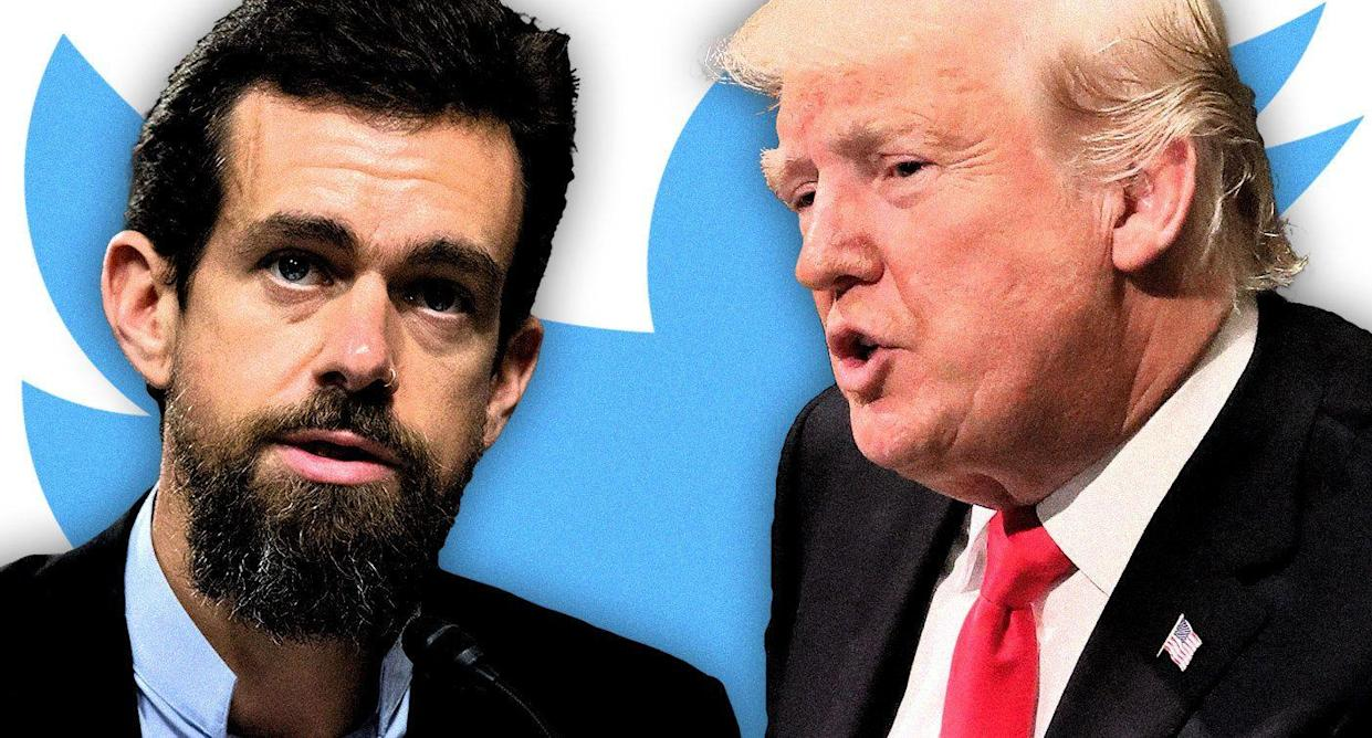 Twitter CEO Jack Dorsey and Donald Trump (Photo illustration: Yahoo News; photos: AP)