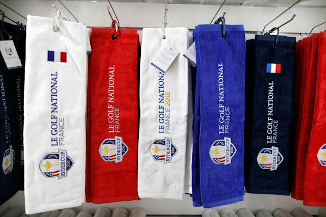 Towels with the 2018 Ryder Cup logo are displayed for sale at France's Golf National where the Ryder Cup 2018 tournament will be held at Saint-Quentin-en-Yvelines, France, October 16, 2017. REUTERS/Charles Platiau