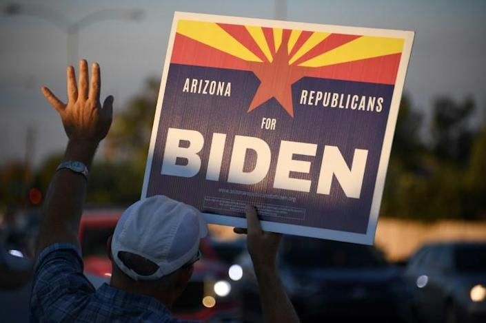 """""""Arizona Republicans for Biden"""" campaign on the sidewalks of major roads, where passing cars and pickup trucks honk both in support and rejection"""