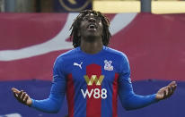 Crystal Palace's Eberechi Eze celebrates scoring his side's second goal during the English Premier League soccer match between Crystal Palace and Sheffield United in London, England, Saturday, Jan. 2, 2021. (John Walton/Pool via AP)