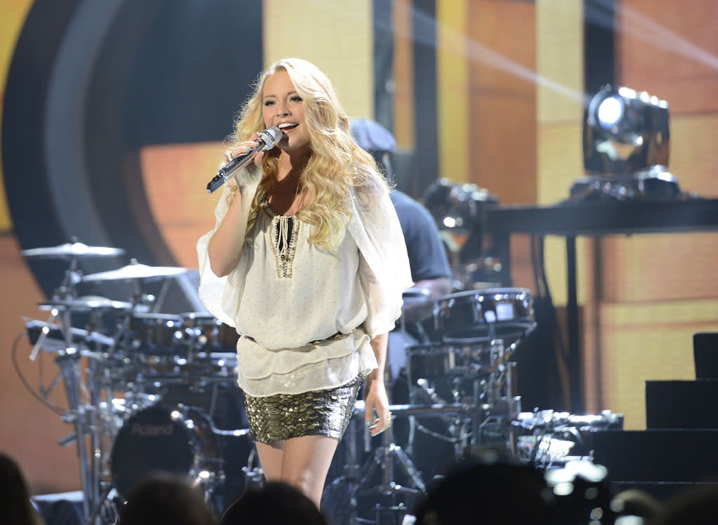 "Janelle Arthur performs ""Dumb Blonde"" on the Wednesday, April 17 episode of ""American Idol."""
