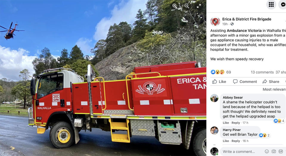The Erica and District Fire Brigade's post, pictured here on Facebook.