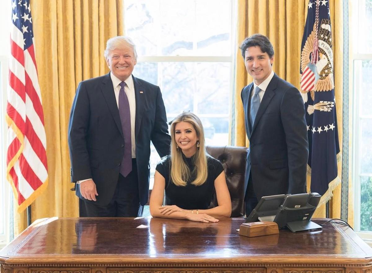 <p>Ivanka Trump posted a picture on her Instagram account on Feb. 13, 2017 in a black dress with Canadian Prime Minister Justin Trudeau and President Donald Trump after participating in a discussion on women in business at the White House in Washington, D.C. on February 13, 2017. The Canada-United States Council for Advancement of Women Entrepreneurs and Business Leaders was launched during the discussion. (Photo: AP Images) </p>