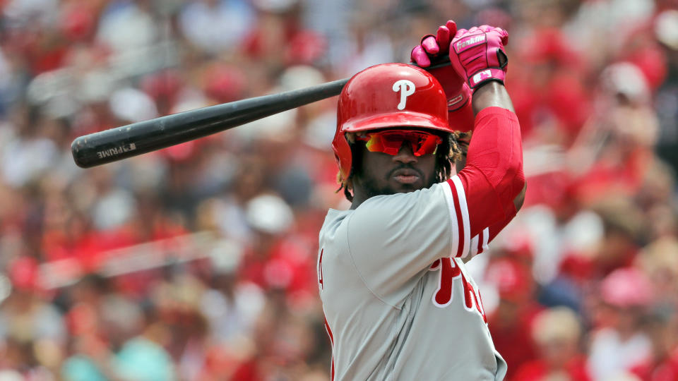 Philadelphia Phillies' Odubel Herrera prepares to bat during the first inning of a baseball game against the St. Louis Cardinals Saturday, May 19, 2018, in St. Louis. (AP Photo/Jeff Roberson)