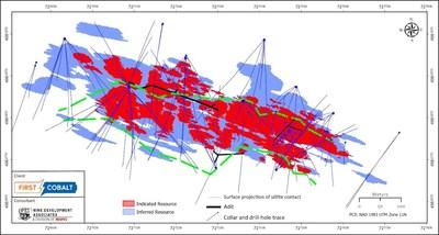 Figure 1. Distribution of Indicated and Inferred cobalt-copper resources at Iron Creek (view from above to show full extent of drilling). (CNW Group/First Cobalt Corp.)