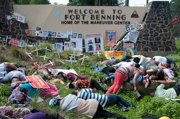 """The School of the Americas in Ft. Benning, Georgia, trained soldiers and generals responsible for massacres and torture of tens of thousands of Latin Americans, <a href=""""http://www.aljazeera.com/programmes/insidestoryamericas/2012/09/201292081054585410.html"""">according to Al Jazeera</a>."""