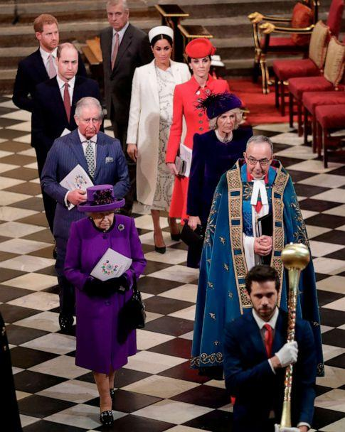 PHOTO: Queen Elizabeth II, Prince Andrew, Prince Charles, Camilla, Prince William, Catherine, Prince Harry and Meghan, leave after attending the Commonwealth Day service at Westminster Abbey in London on March 11, 2019. (Kirsty Wigglesworth/Pool via AFP/Getty Images, FILE)