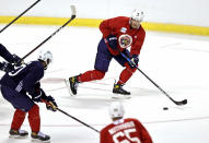 Florida Panthers center Aleksander Barkov (16) in action during training camp in preparation for the 2021-22 NHL season at the FLA Live Arena on Thursday, September 23, 2021 in Sunrise, Florida.(David Santiago/Miami Herald via AP)