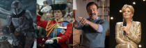 """This combination of photos shows, from left, Pedro Pascal in """"The Mandalorian,"""" Olivia Colman in """"The Crown,"""" Jason Sudeikis in """"Ted Lasso"""" and Jean Smart in """"Hacks."""" (Disney+/Netflix/Apple TV+/HBO Max via AP)"""