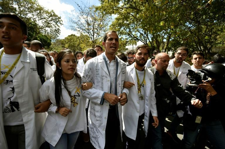 Guaido joins students in a street rally last month