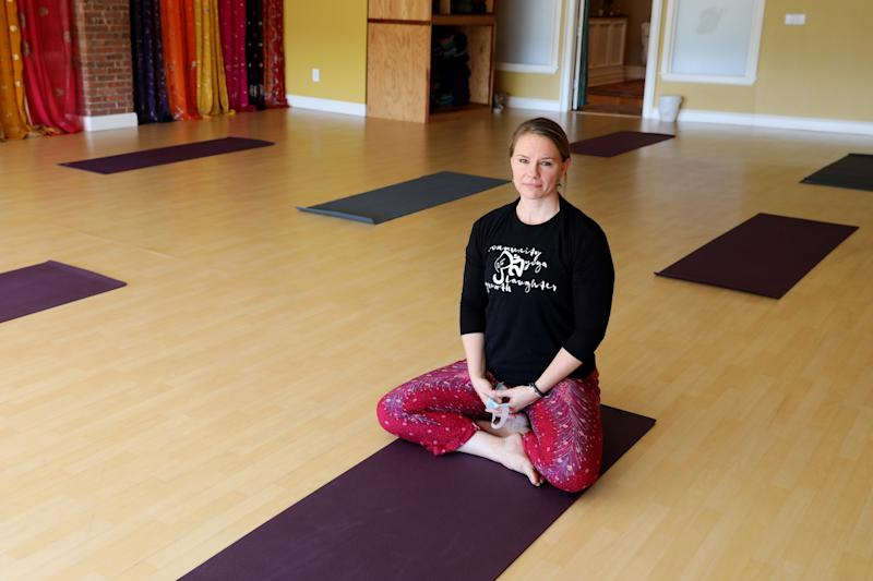 Tobi Kundid, owner and director of Tovami Yoga in Mamaroneck for five years, in her studio July 14, 2020. Kundid is trying to stay afloat with virtual classes and is prepared to reopen with no more than eight members in a class at one time to adhere to social distancing requirements.