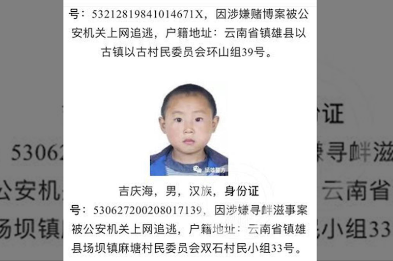 Chinese Police Use Criminal's Childhood Picture On Wanted Poster, Says 'Features Don't Change'