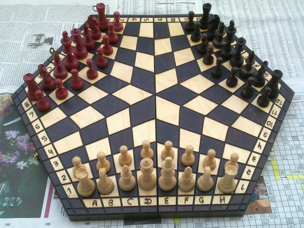 "<p class=""normal""><b>Three-way chess</b></p>  <p class=""normal"">Two's company, three's a crowd -- unless you're playing three-way chess, in which case two's one short and three's a necessity. The pictured version is just one variant of this triple-headed, intricate beast. You might have seen a rather more fanciful version getting some play on ""The Big Bang Theory.""</p>"