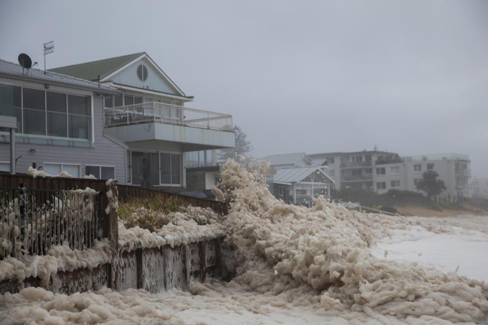 Beach erosion is seen at Collaroy on the Northern Beaches on Monday. Source: Getty/Brook Mitchell