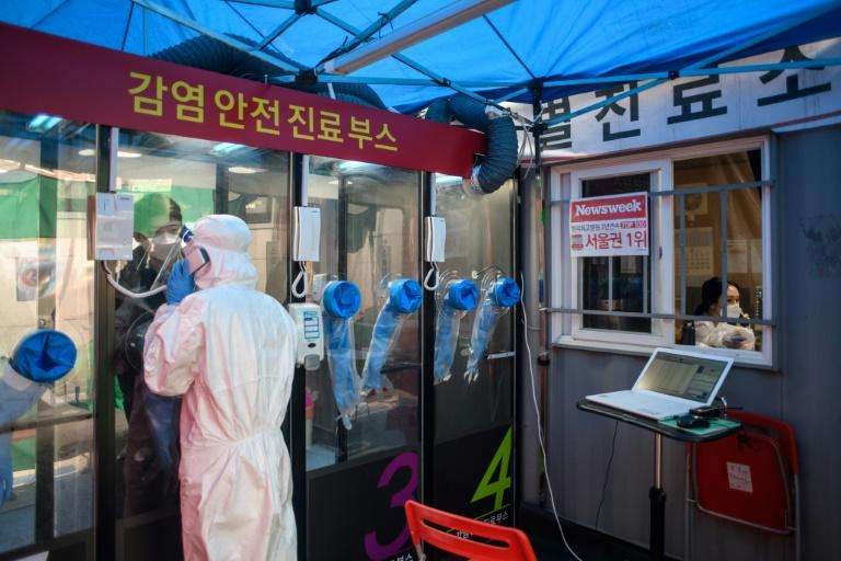 Phone booth-style coronavirus testing facilities have been set up at a South Korea hospital