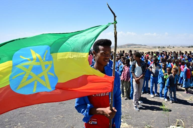 A man holds an Ethiopian flag as children from neighbouring Hama elementary school arrive to pay condolences at the crash site