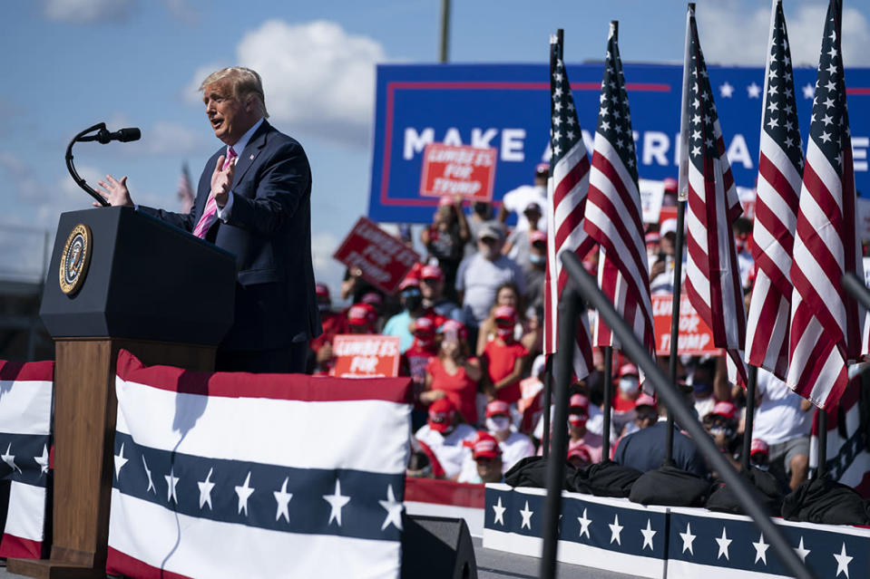 President Donald Trump speaks during a campaign rally at Robeson County Fairgrounds on Saturday in Lumberton, N.C.