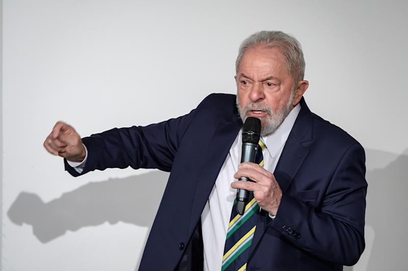 """Former Brazilian president Luiz Inacio Lula da Silva delivers a speech during an event titled: """"Dialogue about inequality with global unions and general public"""" at the Geneva Press Club on March 6, 2020 in Geneva. (Photo by Fabrice COFFRINI / AFP) (Photo by FABRICE COFFRINI/AFP via Getty Images)"""