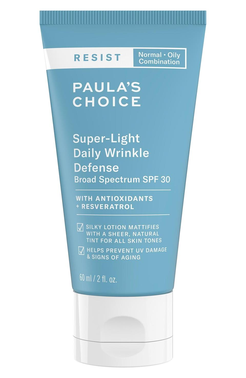 <p>This <span>Paula's Choice Resist Super-Light Wrinkle Defense SPF 30 Sunscreen Moisturizer</span> ($33) is tinted, making it an optimal choice for everyday wear.</p>