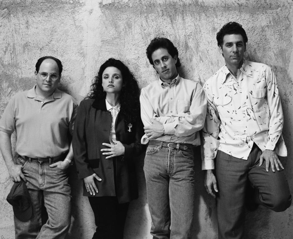 SEINFELD -- Season 5 -- Pictured: (l-r) Jason Alexander as George Costanza, Julia Louis-Dreyfus as Elaine Benes, Jerry Seinfeld as Jerry Seinfeld, Michael Richards as Cosmo Kramer  (Photo by George Lange/NBCU Photo Bank/NBCUniversal via Getty Images via Getty Images)