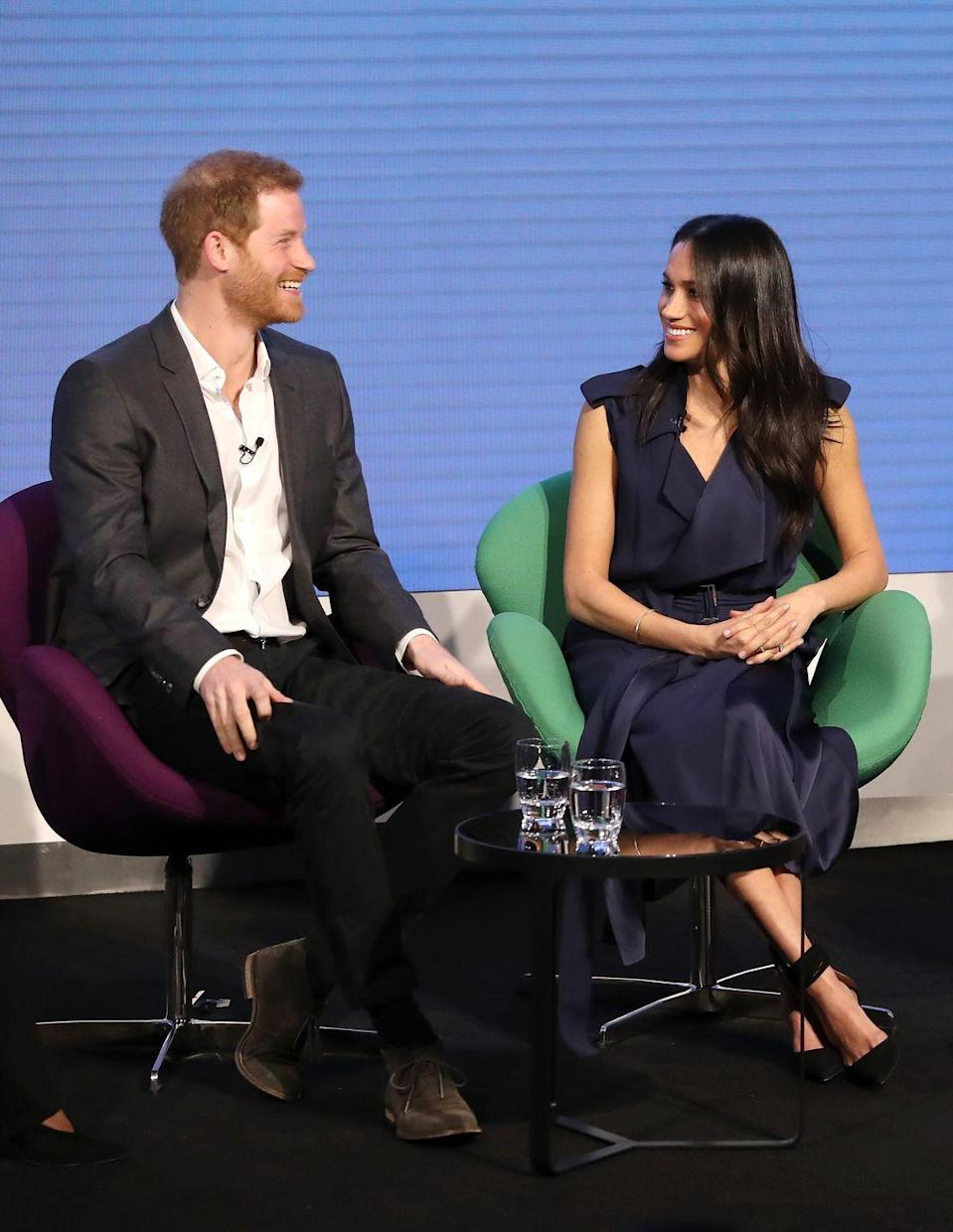 "<p>For the first ever Royal Foundation Forum, Markle wore a striking <a href=""https://www.net-a-porter.com/gb/en/product/992242"" rel=""nofollow noopener"" target=""_blank"" data-ylk=""slk:blue wrap dress by Jason Wu"" class=""link rapid-noclick-resp"">blue wrap dress by Jason Wu</a>, paired with black pumps with an ankle detail.</p><p><a class=""link rapid-noclick-resp"" href=""https://go.redirectingat.com?id=74968X1596630&url=https%3A%2F%2Fshop.nordstrom.com%2Fs%2Fjason-wu-crepe-back-satin-belted-wrap-dress%2F4761825&sref=https%3A%2F%2Fwww.townandcountrymag.com%2Fstyle%2Ffashion-trends%2Fg3272%2Fmeghan-markle-preppy-style%2F"" rel=""nofollow noopener"" target=""_blank"" data-ylk=""slk:SHOP NOW"">SHOP NOW</a> <em>Jason Wu C</em><em>repe Back Satin Belted Wrap Dress, $1,795 </em></p><p><a class=""link rapid-noclick-resp"" href=""https://go.redirectingat.com?id=74968X1596630&url=https%3A%2F%2Fwww.matchesfashion.com%2Fus%2Fproducts%2FAquazzura-Casablanca-multi-strap-suede-pumps-1183202&sref=https%3A%2F%2Fwww.townandcountrymag.com%2Fstyle%2Ffashion-trends%2Fg3272%2Fmeghan-markle-preppy-style%2F"" rel=""nofollow noopener"" target=""_blank"" data-ylk=""slk:SHOP NOW"">SHOP NOW</a> <em>Aquazzura Casablanca 85 Multi-Strap Suede Pumps, $750</em></p>"