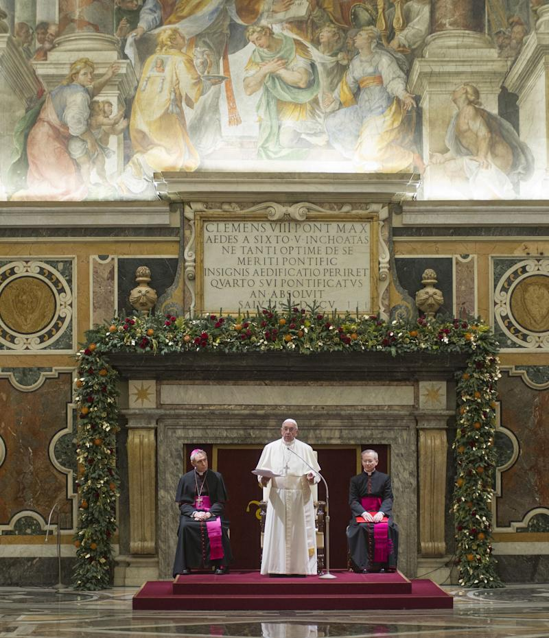 Pope Francis and the Roman Curia during the Christmas greetings at Clementine Hall in Vatican City on Friday. The pope addressed the Roman Catholic Church's sexual abuse crisis in his remarks. (Photo: Mondadori Portfolio via Getty Images)